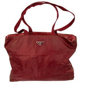 Prada Nylon Tote Red Shoulder Bag Silver Hardwear